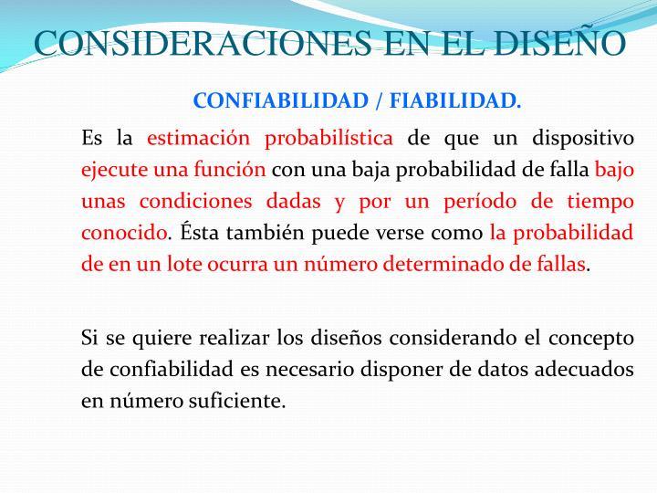 CONSIDERACIONES EN EL DISEÑO