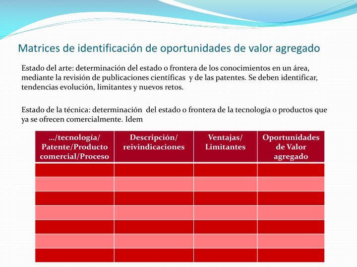 Matrices de identificación de oportunidades de valor agregado