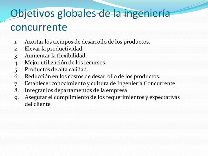 Objetivos globales de la ingeniería concurrente