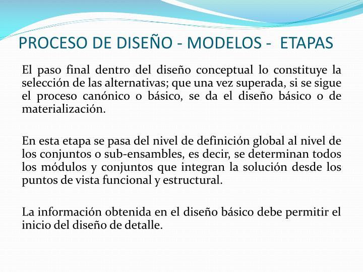 PROCESO DE DISEÑO - MODELOS -  ETAPAS