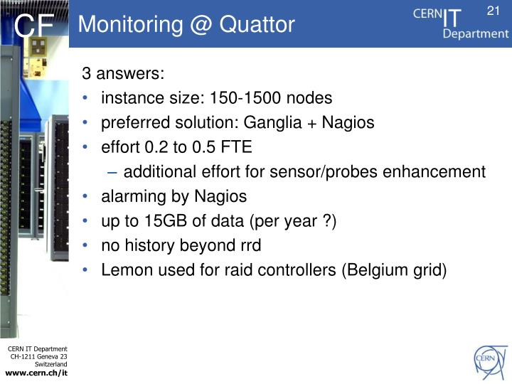 Monitoring @ Quattor