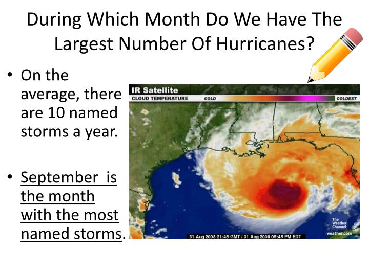 During Which Month Do We Have The Largest Number Of Hurricanes?