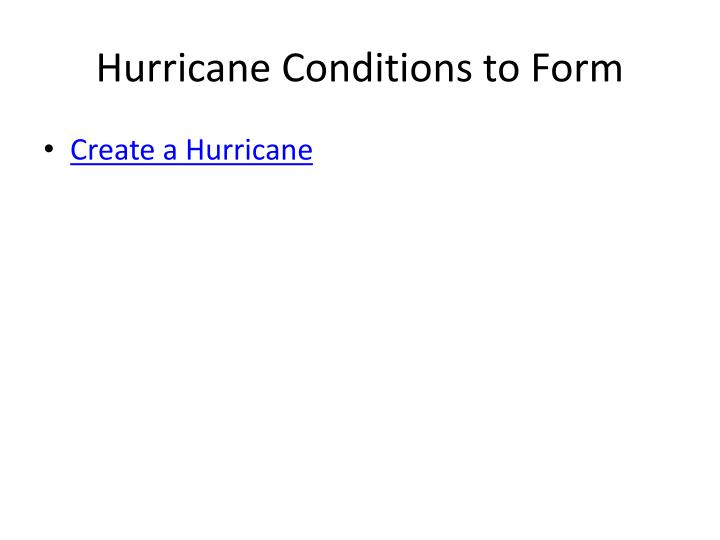 Hurricane Conditions to Form