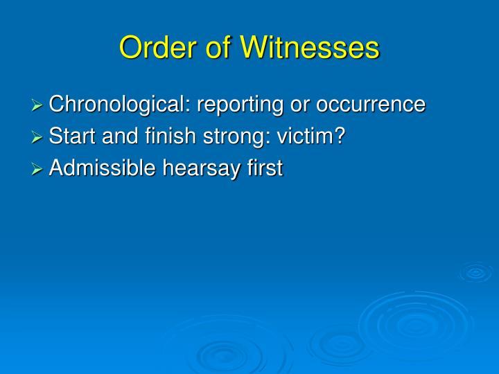Order of Witnesses