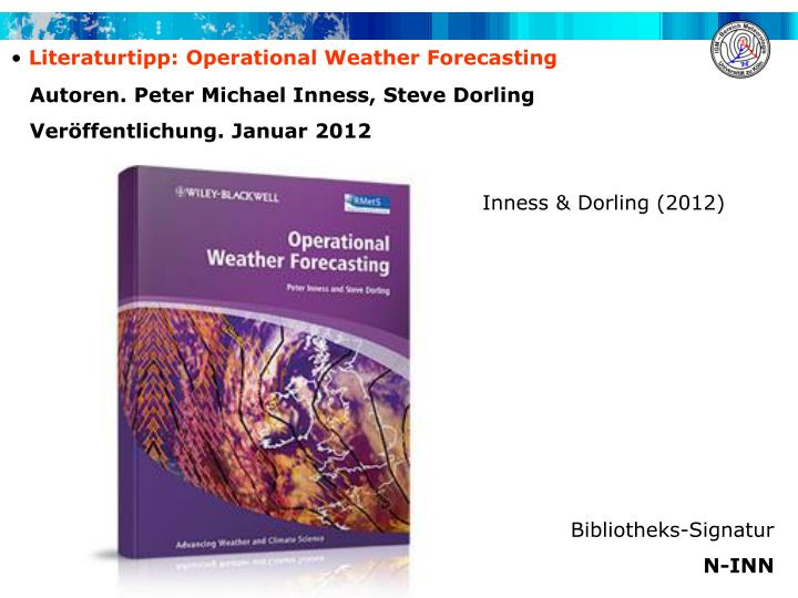 Literaturtipp: Operational Weather Forecasting