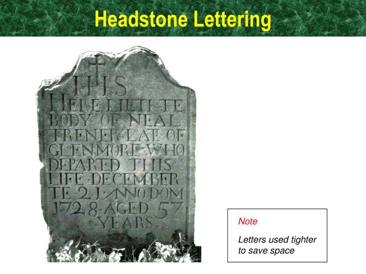 Headstone Lettering Ppt And Tombstones Powerpoint Presentation Id2298403