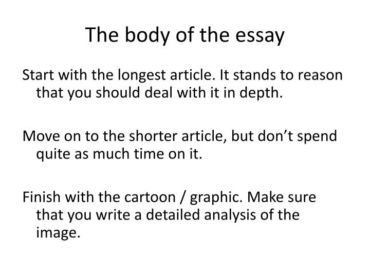 The body of the essay