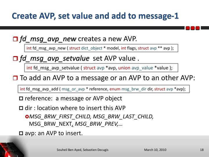 Create AVP, set value and add to message-1
