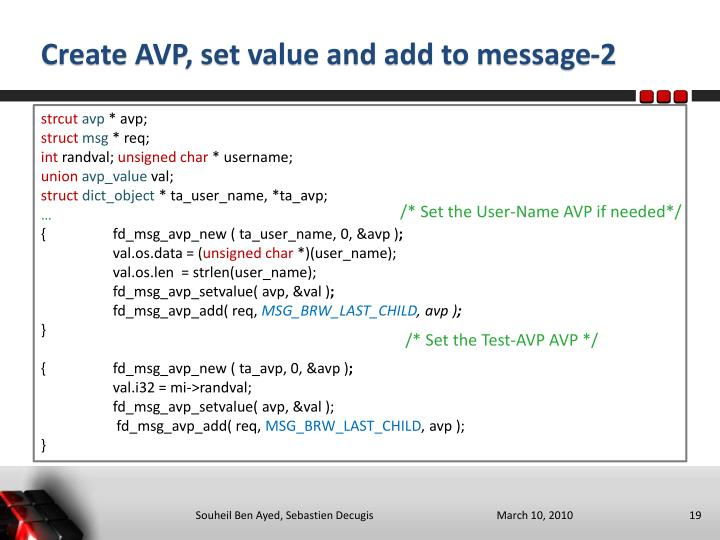 Create AVP, set value and add to message-2