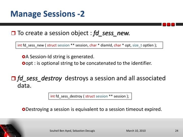 Manage Sessions -2