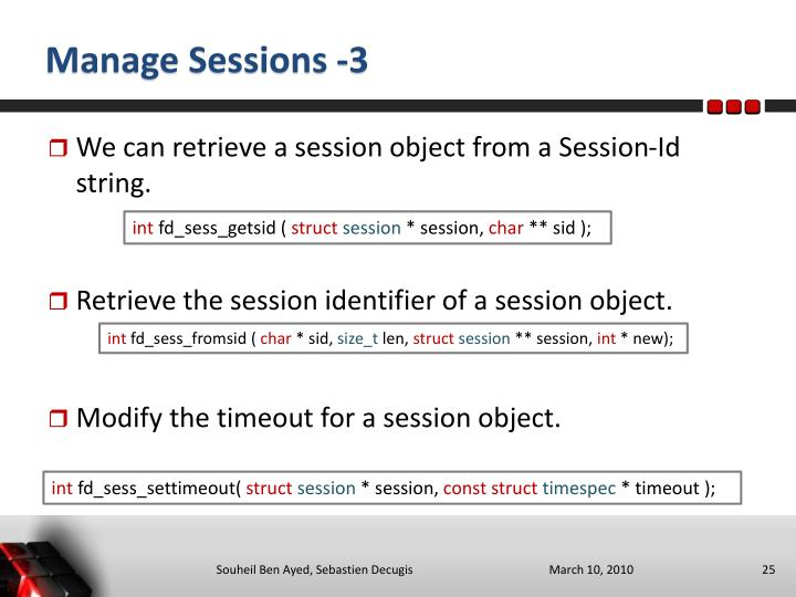 Manage Sessions -3