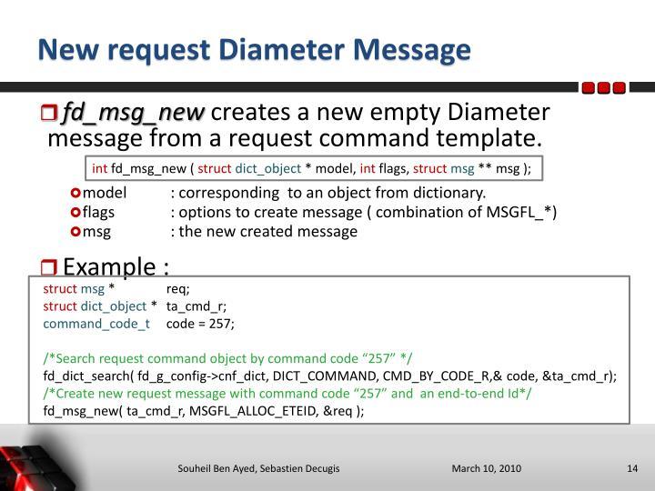 New request Diameter Message