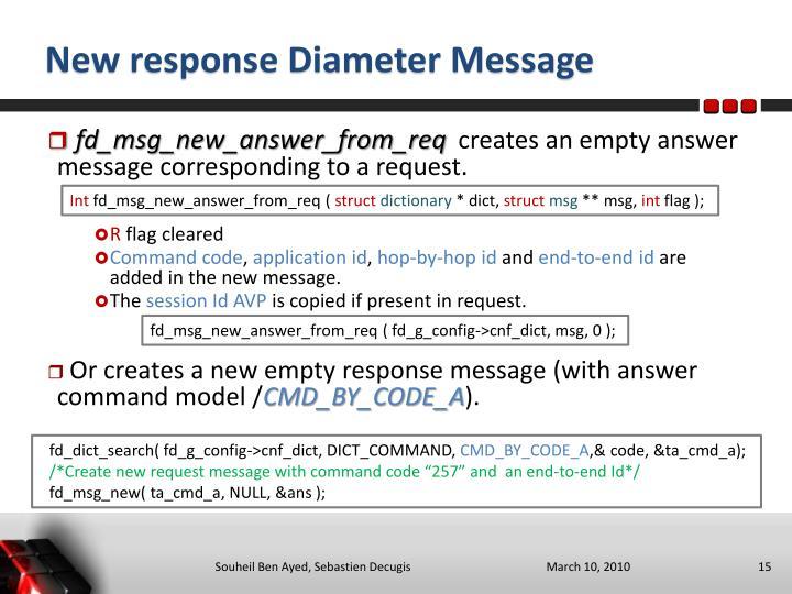 New response Diameter Message