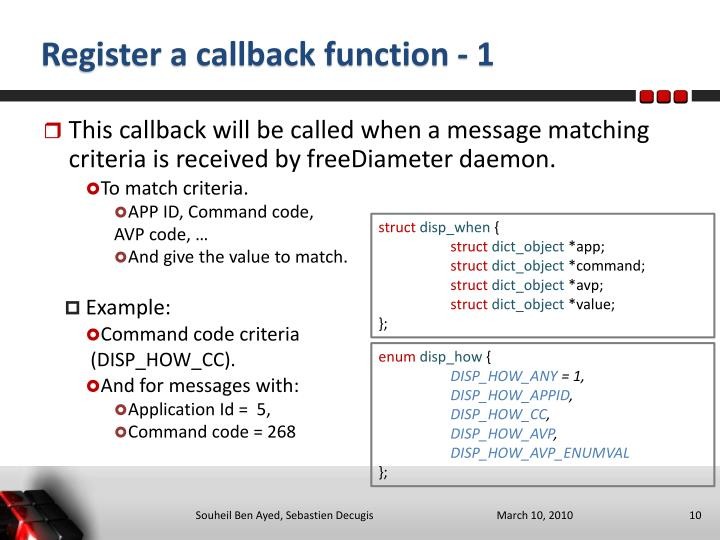 Register a callback function - 1