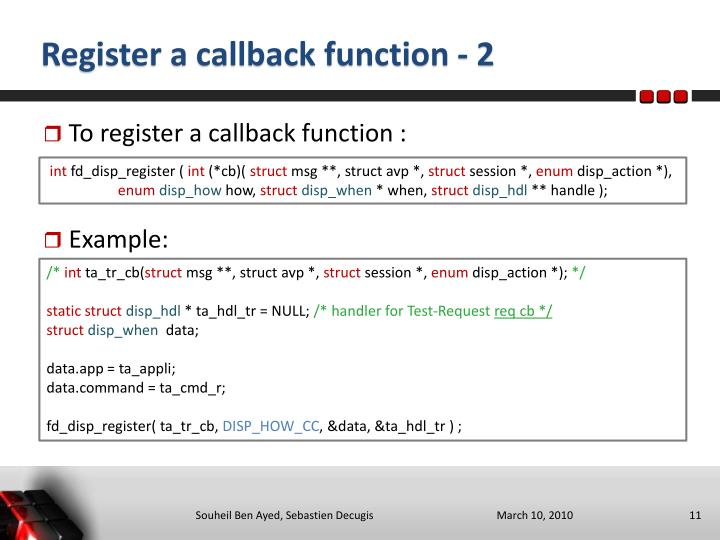 Register a callback function - 2