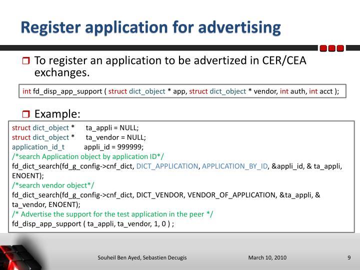 Register application for advertising