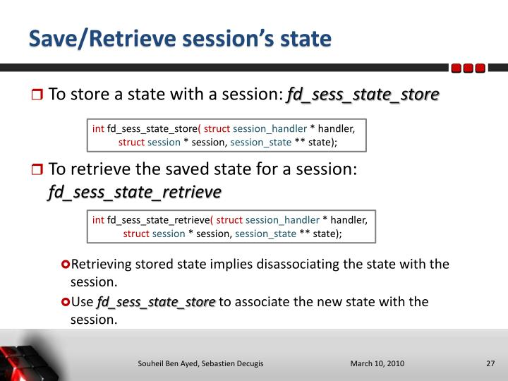Save/Retrieve session's state