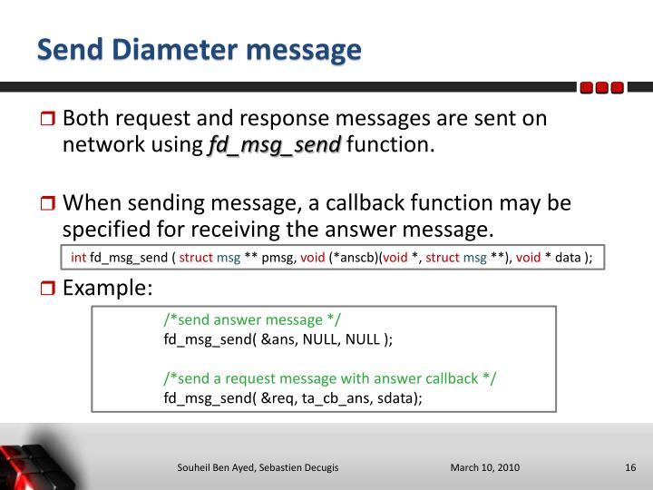 Send Diameter message