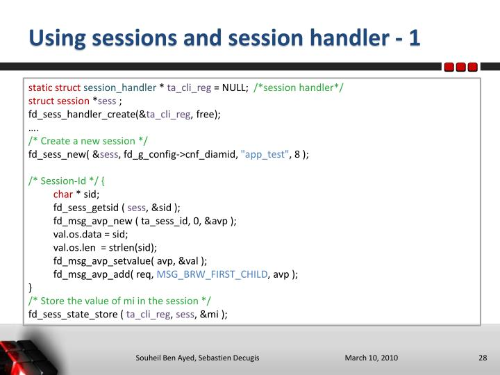 Using sessions and session handler - 1