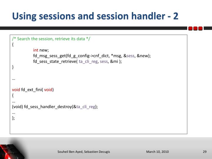 Using sessions and session handler - 2