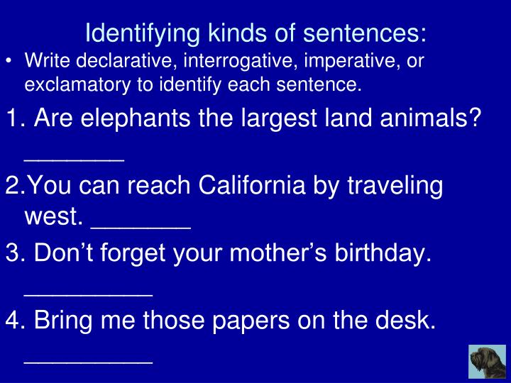 Identifying kinds of sentences: