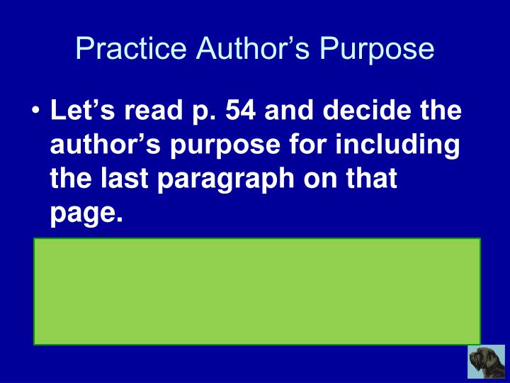 Practice Author's Purpose