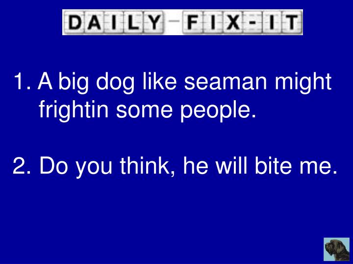 A big dog like seaman might