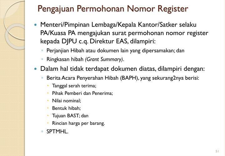 Pengajuan Permohonan Nomor Register