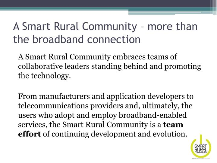A Smart Rural Community – more than the broadband connection