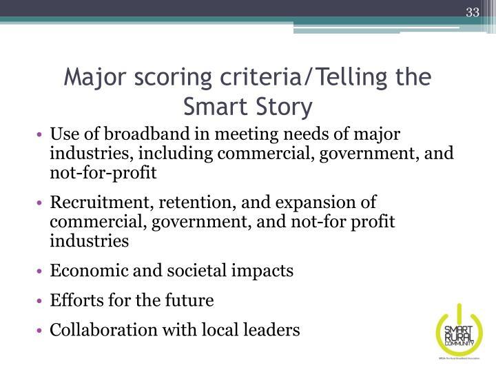 Major scoring criteria/Telling the Smart Story