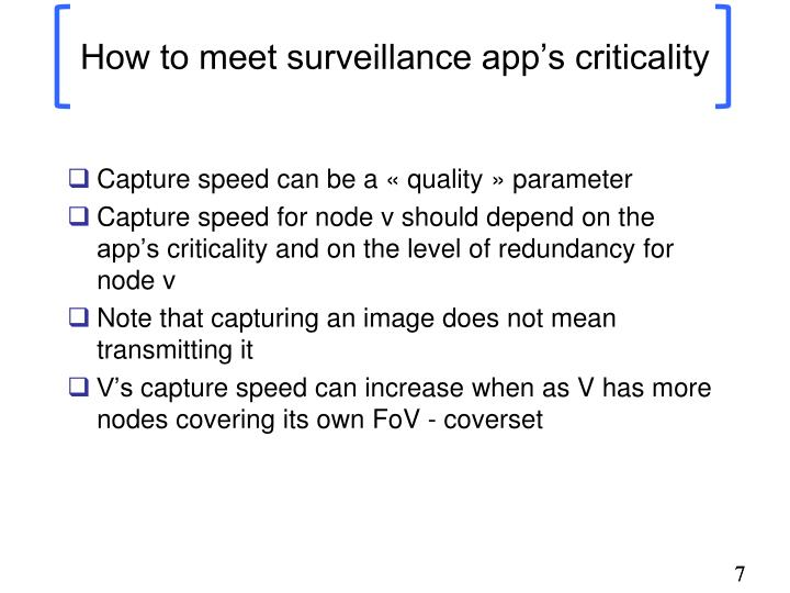 How to meet surveillance app's criticality