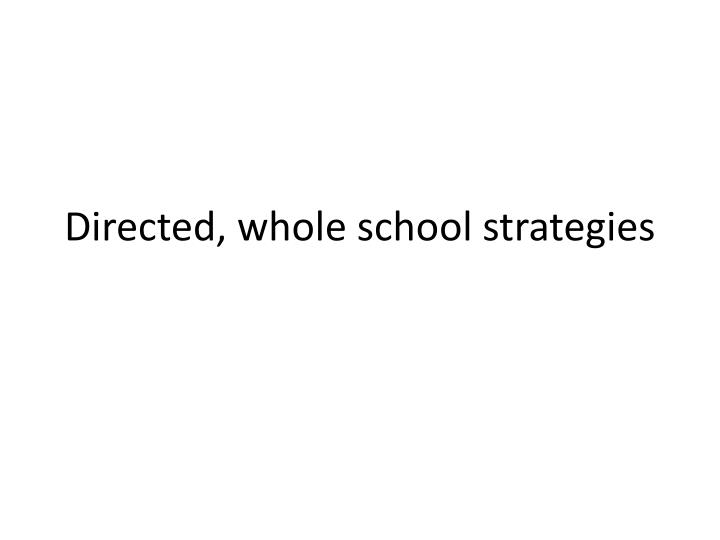 Directed, whole school strategies