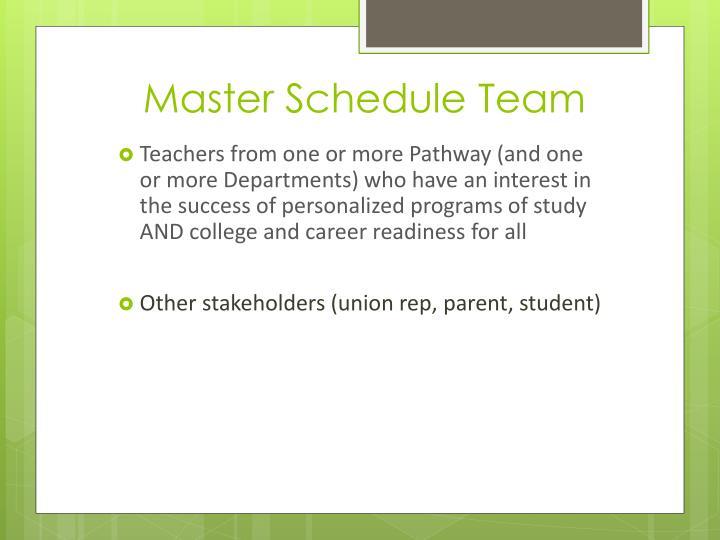 Master Schedule Team