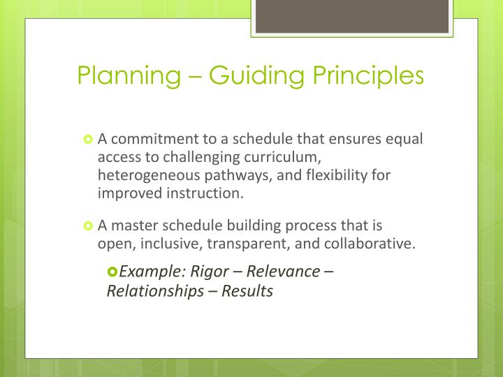 Planning – Guiding Principles