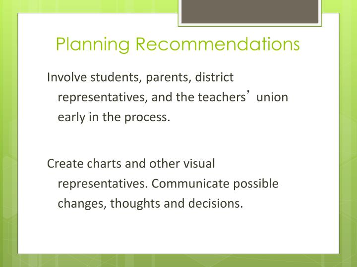 Planning Recommendations