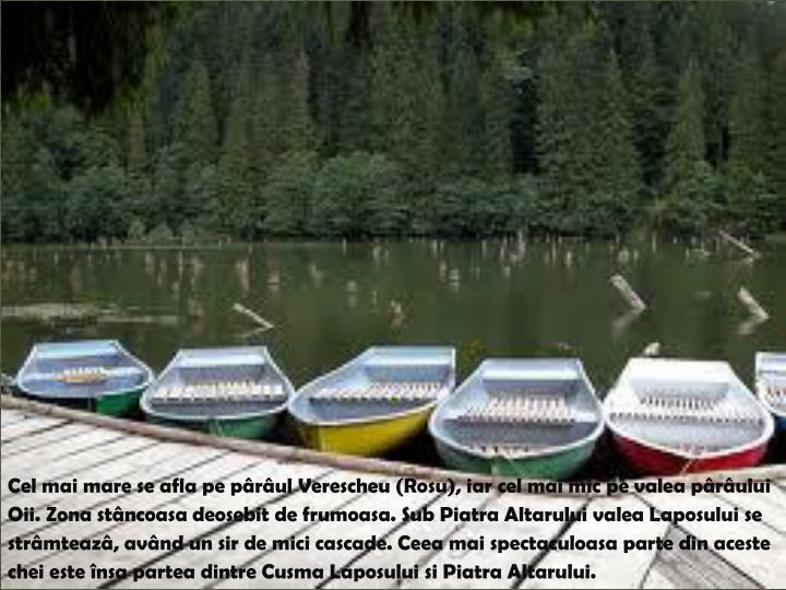 Cel mai mare se afla pe pârâul Verescheu (Rosu), iar cel mai mic pe valea pârâului Oii
