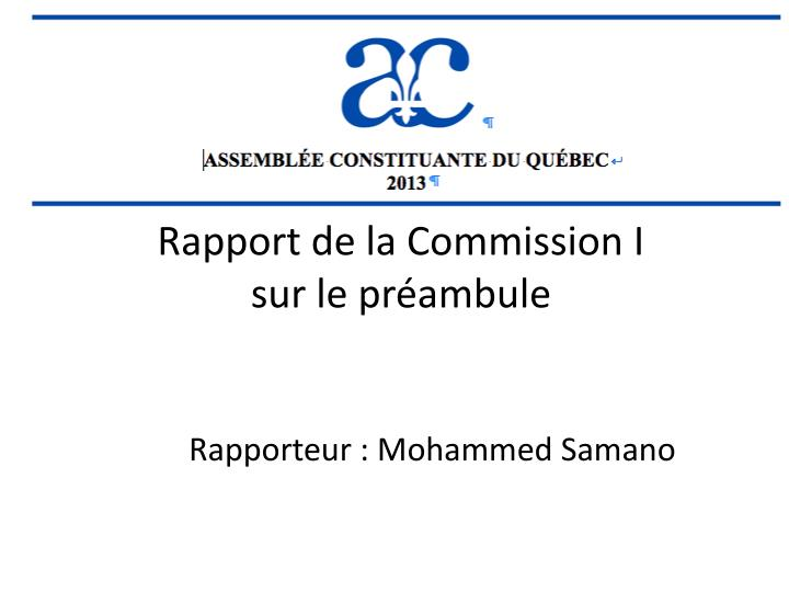 Rapport de la commission i sur le pr ambule