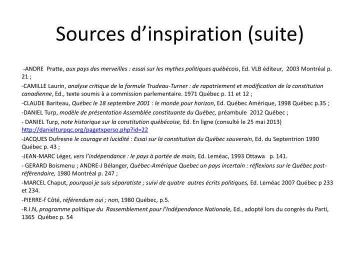 Sources dinspiration (suite)