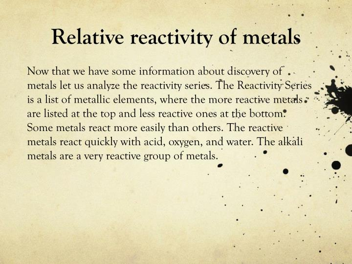 Relative reactivity of metals