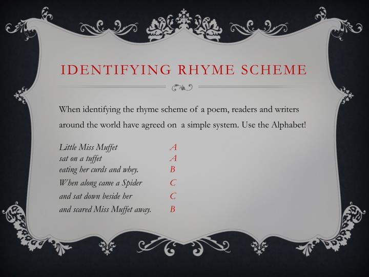 IDENTIFYING Rhyme Scheme