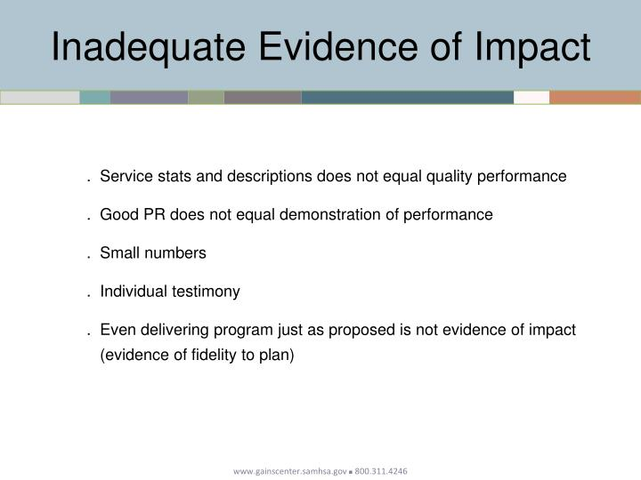 Inadequate Evidence of Impact