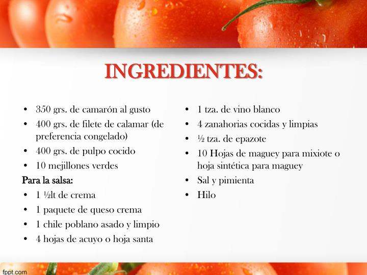 INGREDIENTES:
