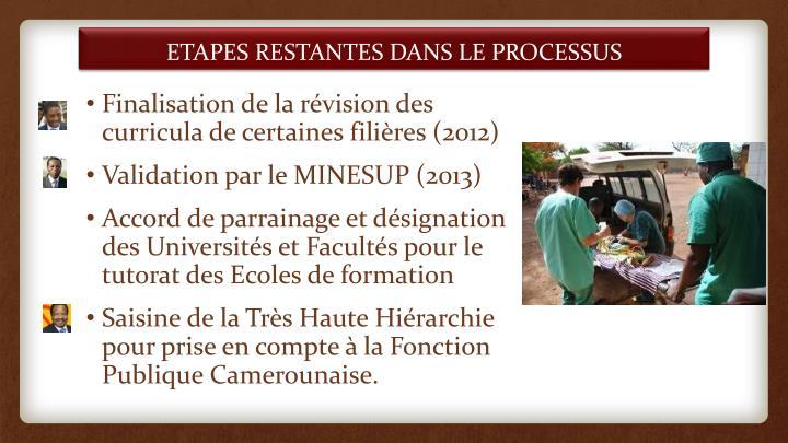 ETAPES RESTANTES DANS LE PROCESSUS
