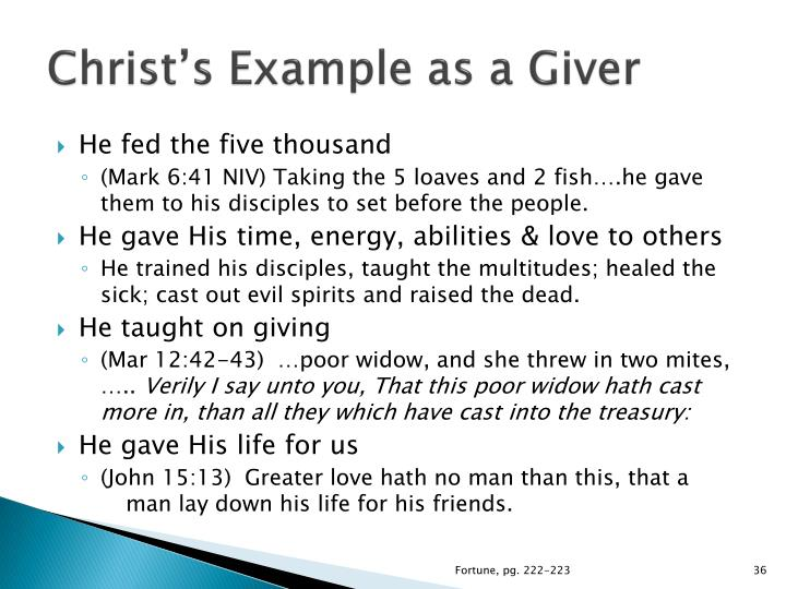 Christ's Example as a Giver