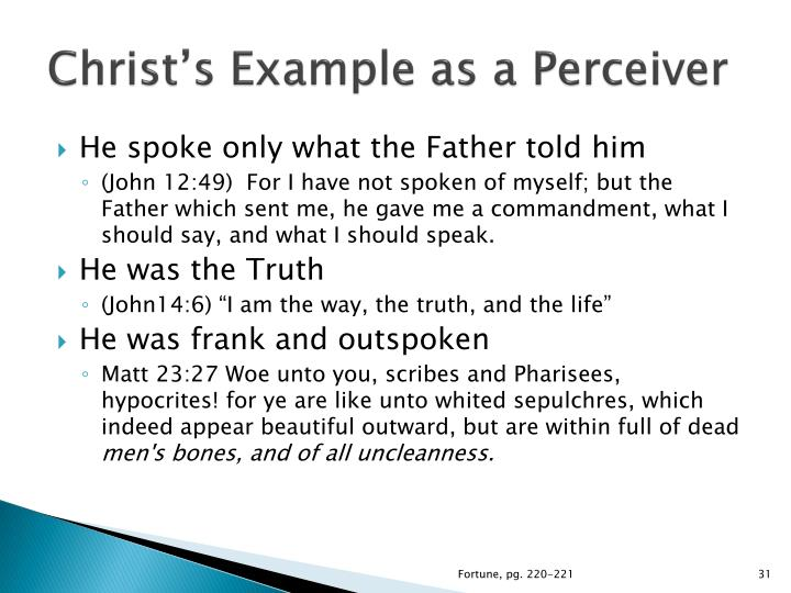 Christ's Example as a Perceiver
