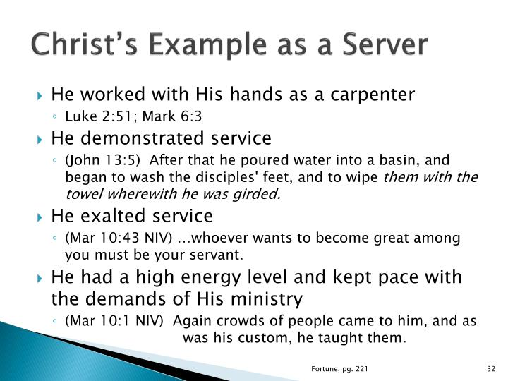 Christ's Example as a Server
