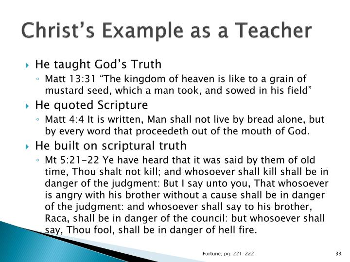 Christ's Example as a Teacher