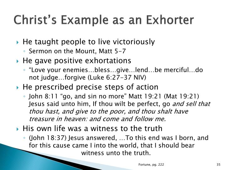 Christ's Example as an Exhorter