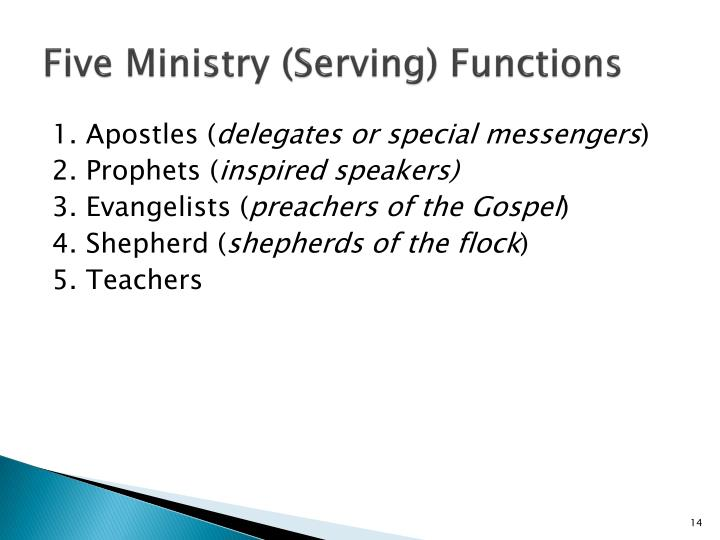 Five Ministry (Serving) Functions
