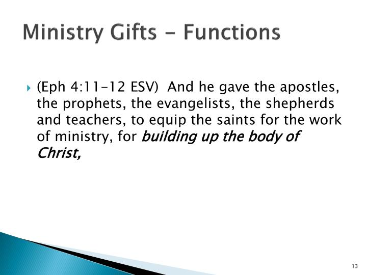 Ministry Gifts - Functions